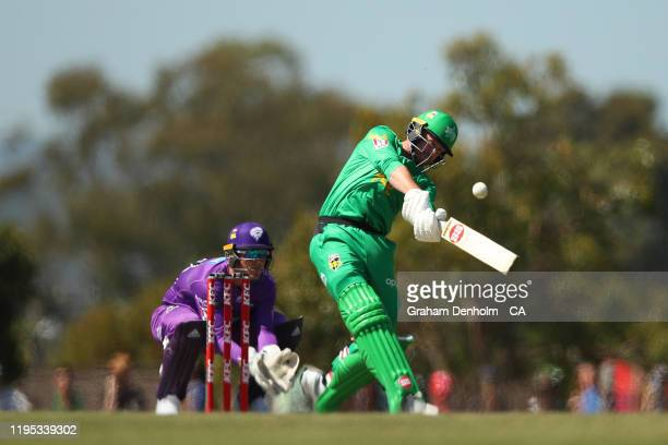 Ben Dunk of the Stars bats during the Big Bash League match between the Melbourne Stars and the Hobart Hurricanes at Ted Summerton Reserve in Moe on...