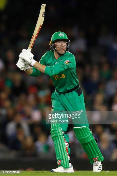 Ben Dunk of the Stars bats during the Big Bash League match between the Melbourne Renegades and the Melbourne Stars at Marvel Stadium on January 10...