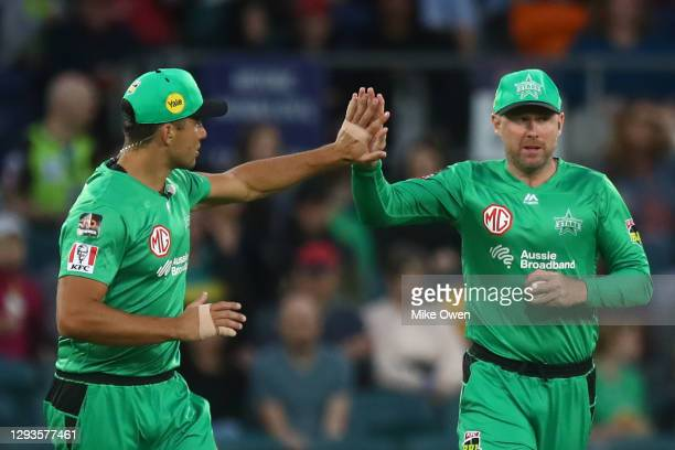 Ben Dunk of the Stars celebrates after catching out Ollie Davies of the Thunder during the Big Bash League match between Sydney Thunder and the...