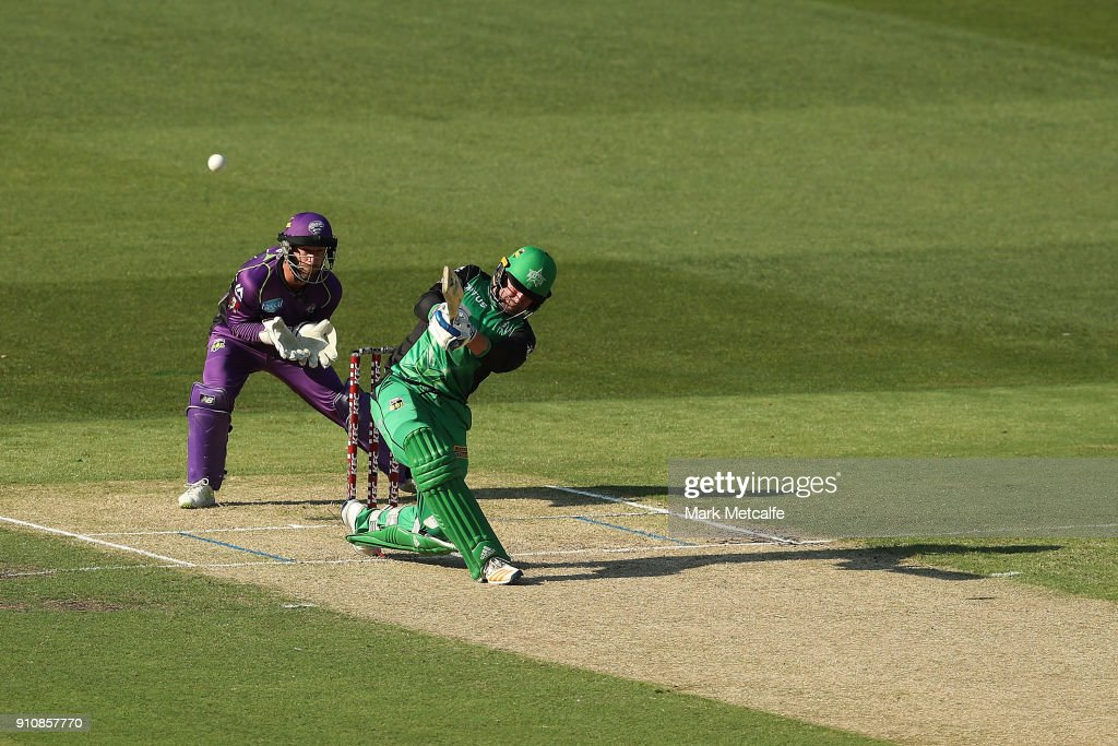 Ben Dunk of the Stars hits a six during the Big Bash League match between the Melbourne Stars and and the Hobart Hurricanes at Melbourne Cricket Ground on January 27, 2018 in Melbourne, Australia.