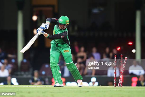Ben Dunk of the Stars is bowled by Ben Dwarshuis of the Sixers during the Big Bash League match between the Sydney Sixers and the Melbourne Stars at...
