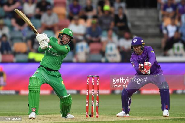 Ben Dunk of the Stars is caught by Ben McDermott of the Hurricanes during the Big Bash League match between the Hobart Hurricanes and the Melbourne...