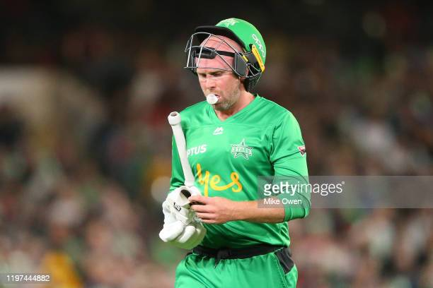 Ben Dunk of the Stars is seen leaving the field of play after being dismissed during the Big Bash League match between the Melbourne Stars and the...