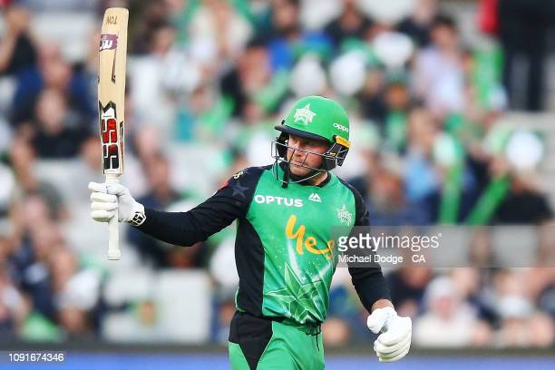 Ben Dunk of the Stars makes a half century during the Melbourne Stars v Perth Scorchers BBL match at Melbourne Cricket Ground on January 09 2019 in...