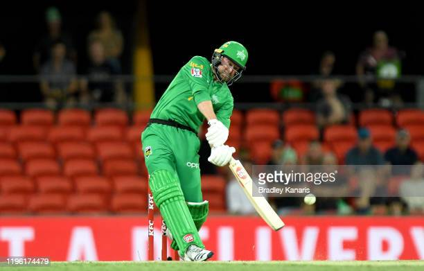 Ben Dunk of the Stars plays a shot during the Big Bash League match between the Melbourne Stars and the Adelaide Strikers at Metricon Stadium on...