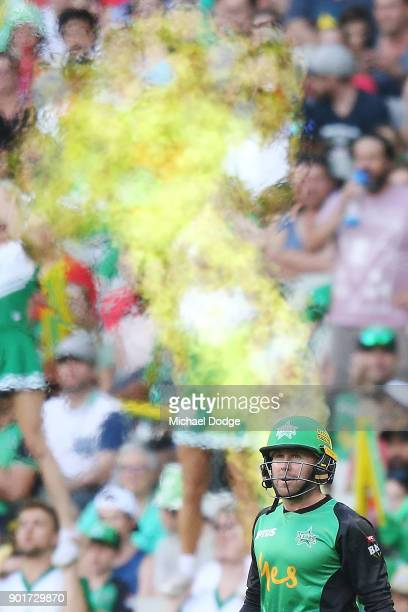 Ben Dunk of the Stars walks out to bat during the Big Bash League match between the Melbourne Stars and the Melbourne Renegades at Melbourne Cricket...