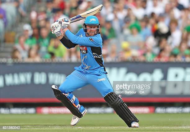 Ben Dunk of the Strikers bats during the Big Bash League match between the Melbourne Stars and the Adelaide Strikers at the Melbourne Cricket Ground...