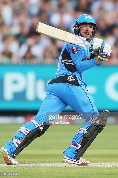 Ben Dunk of the Strikers bats during the Big Bash League match between the Melbourne Stars and the Adelaide Strikers at Melbourne Cricket Ground on...