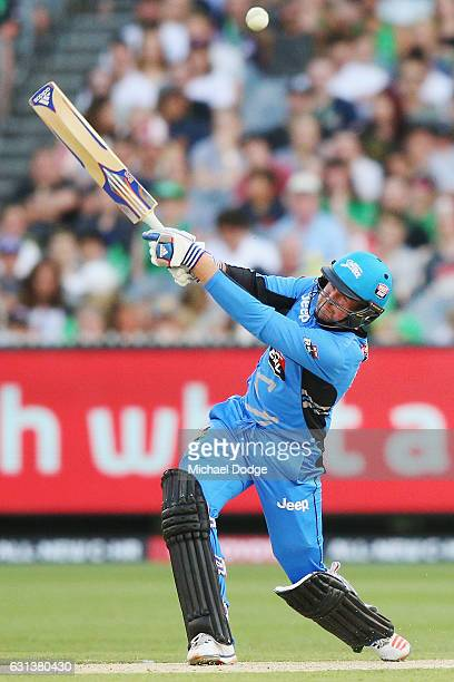 Ben Dunk of the Strikers is caught from this stroke during the Big Bash League match between the Melbourne Stars and the Adelaide Strikers at...