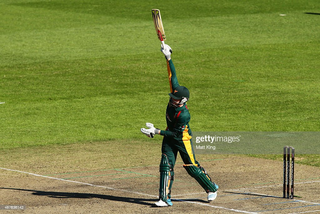 Ben Dunk of the Tigers bats during the Matador BBQs One Day Cup match between Tasmania and South Australia at North Sydney Oval on October 22, 2014 in Sydney, Australia.