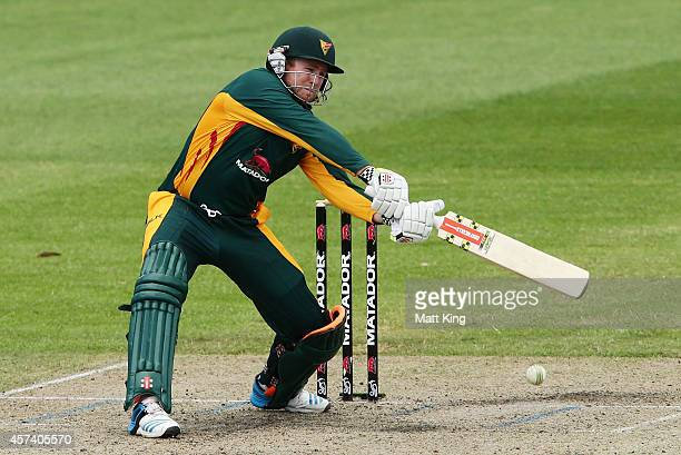 Ben Dunk of the Tigers plays on the off side during the Matador BBQs One Day Cup match between Queensland and Tasmania at North Sydney Oval on...