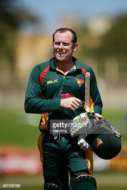 Ben Dunk of the Tigers smiles as he walks from the field at the end of the innings after scoring 229 not out during the Matador BBQs One Day Cup...