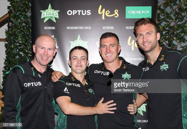 Ben Dunk Seb Gotch Daniel Worrall and Jackson Coleman attend during the Melbourne Stars BBL Launch on December 12 2018 in Melbourne Australia...