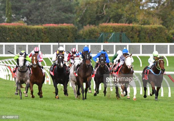 Ben E Thompson riding Grey Street winning Race 7 during Melbourne Racing at Caulfield Racecourse on April 29 2017 in Melbourne Australia