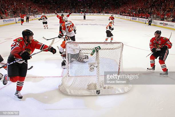 Ben Eager of the Chicago Blackhawks celerbrates after scoring a goal past Michael Leighton of the Philadelphia Flyers in the second period ofGame Two...
