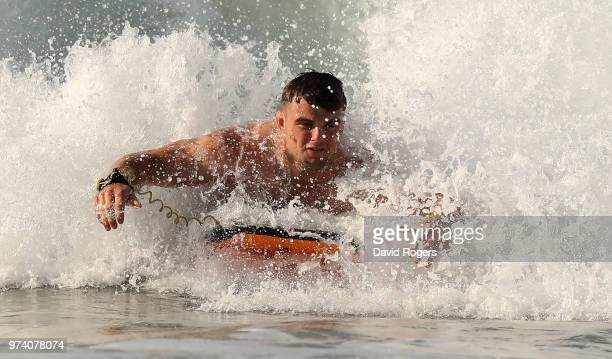 Ben Earl body surfs in the Indian Ocean during the England recovery session held on June 14 2018 in Umhlanga Rocks South Africa