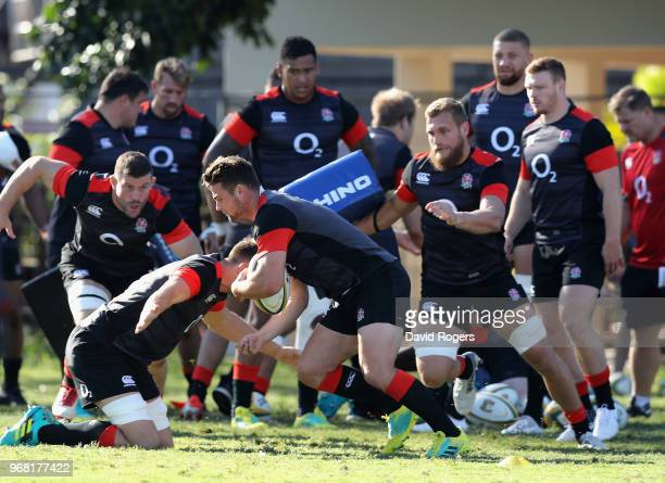 Ben Earl is tackled during the England training session at Kings Park Stadium on June 6 2018 in Durban South Africa