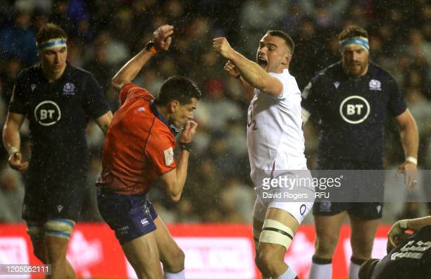 Ben Earl of England celebrates after Ellis Genge scores the match winning try during the 2020 Guinness Six Nations match between Scotland and England...