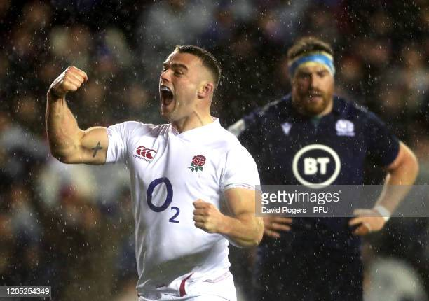 Ben Earl of England celebrates his team's first try during the 2020 Guinness Six Nations match between Scotland and England at Murrayfield on...