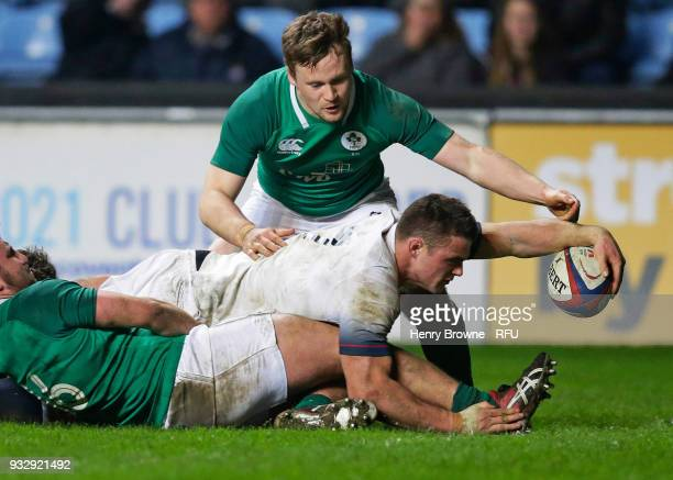 Ben Earl of England scores a try during the Natwest Under 20's Six Nations between England U20 and Ireland U20 at Ricoh Arena on March 16 2018 in...