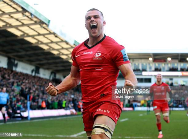 Ben Earl of Saracens celebrates after soring a try during the Gallagher Premiership Rugby match between Northampton Saints and Saracens at Franklin's...