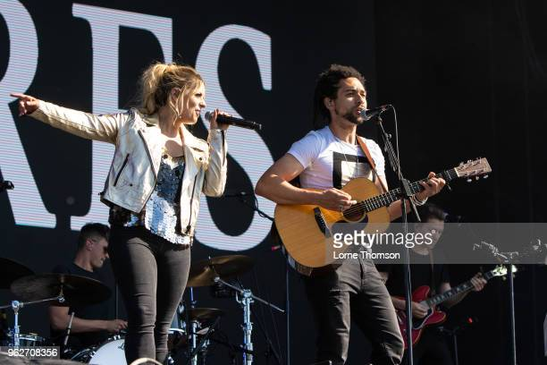 Ben Earle and Crissie Rhodes of The Shires perform at BBC Radio The Biggest Weekend at Scone Palace on May 26 2018 in Perth Scotland