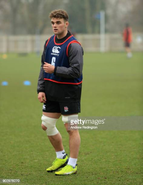 Ben Earli in action during England U20 Media Access at Bisham Abbey on January 9 2018 in Marlow England