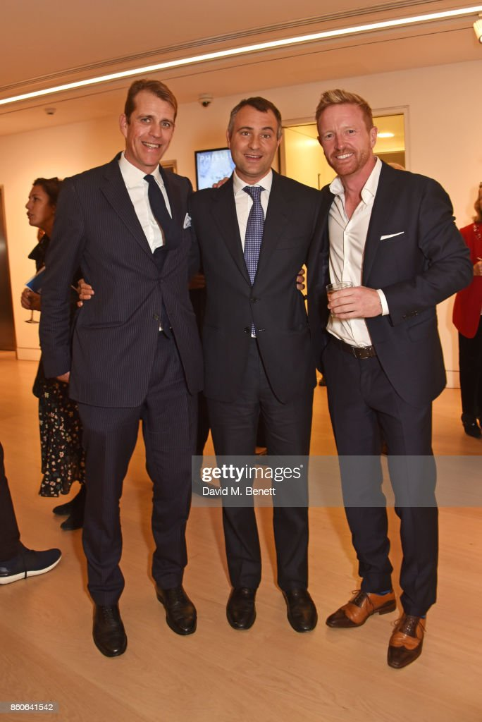 Ben Elliot, Ben Goldsmith and Paul Collingwood attend the Aeolian Islands Preservation Fund's inaugural fundraiser hosted by Ritorno at Phillips Gallery on October 12, 2017 in London, England.