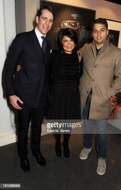 Ben Elliot Daniella Issa Helayel and Jamie Reuben attend the launch of the Vertu Ti at the London Film Museum Covent Garden on February 12 2013 in...