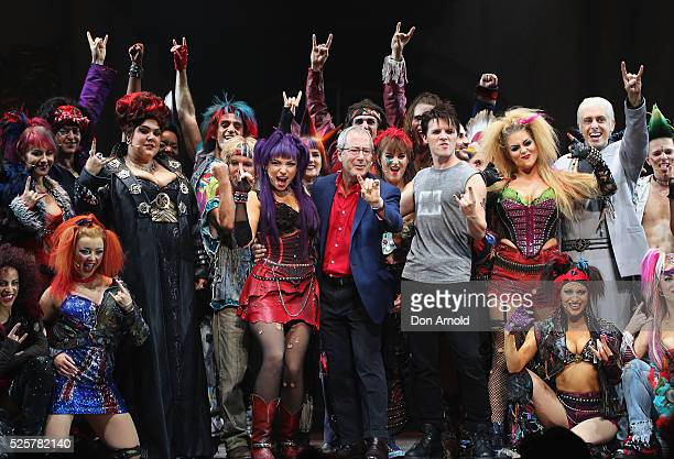 Ben Elton stands alongside cast members during the 'We Will Rock You' media call at Lyric Theatre, Star City on April 29, 2016 in Sydney, Australia.