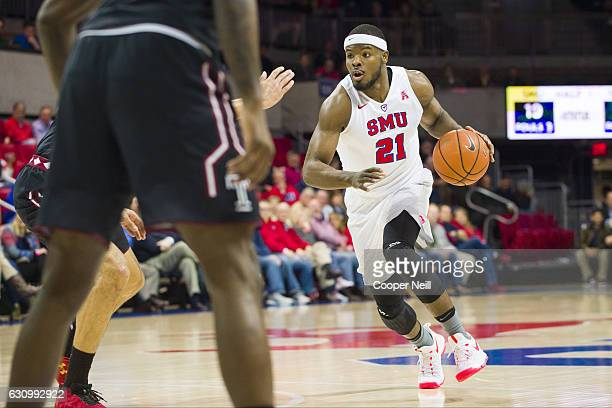 Ben Emelogu II of the SMU Mustangs drives to the basket against the Temple Owls during a basketball game on January 4 2017 at Moody Coliseum in...