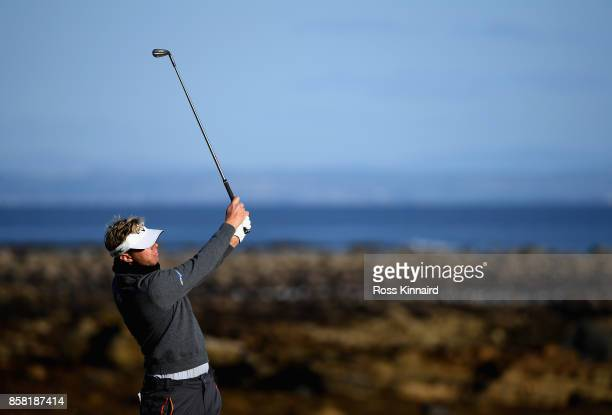 Ben Evans of England plays his third shot on the 12th during day two of the 2017 Alfred Dunhill Championship at Kingsbarns on October 6, 2017 in St...