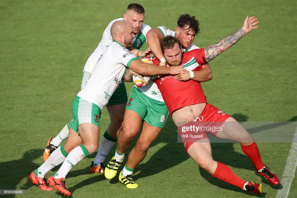 Ben Evans of Wales is tackled by Liam Finn of Ireland during the 2017 Rugby League World Cup match between Wales and Ireland at nib Stadium on November 12, 2017 in Perth, Australia.