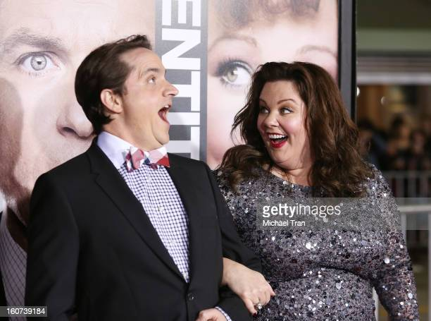 """Ben Falcone and Melissa McCarthy arrive at the Los Angeles premiere of """"Identity Thief"""" held at Mann Village Theatre on February 4, 2013 in Westwood,..."""