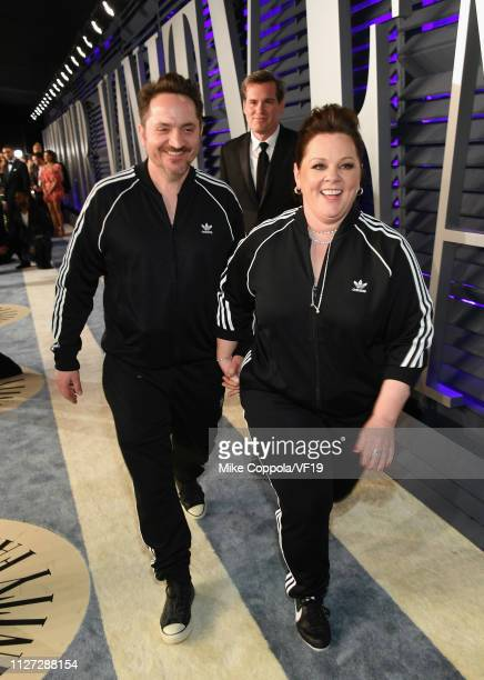 Ben Falcone and Melissa McCarthy attend the 2019 Vanity Fair Oscar Party hosted by Radhika Jones at Wallis Annenberg Center for the Performing Arts...