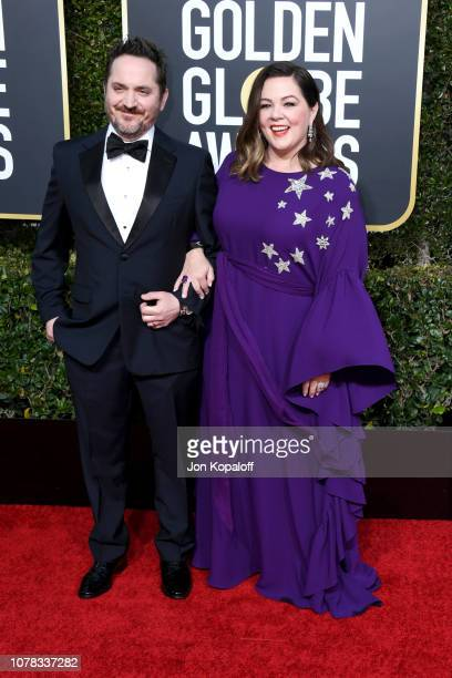 Ben Falcone and Melissa McCarthy attend the 76th Annual Golden Globe Awards at The Beverly Hilton Hotel on January 6 2019 in Beverly Hills California