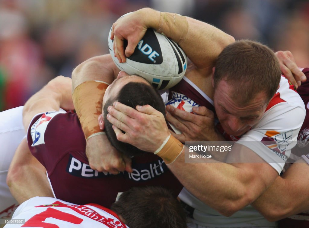 Ben Farah of the Eagles is tackled during the NRL Fourth Qualifying Final match between the St George Illawarra Dragons and the Manly Warringah Sea Eagles at WIN Jubilee Stadium on September 12, 2010 in Sydney, Australia.