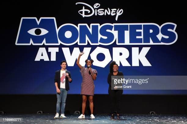 Ben Feldman and Aisha Tyler of 'Monsters at Work,' and Yvette Nicole Brown took part today in the Disney+ Showcase at Disney's D23 EXPO 2019 in...