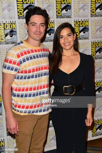 Ben Feldman and America Ferrera attend Superstore press line at Hilton Bayfront on July 18 2019 in San Diego California