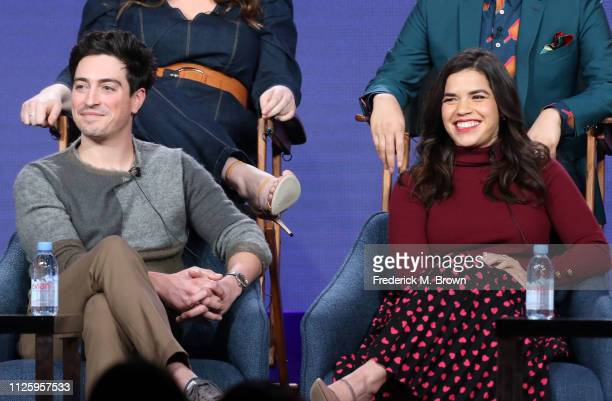 Ben Feldman and America Ferrera speak on the 'Superstore' panel during the NBCUniversal portion of the Television Critics Association Winter Press...