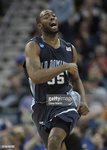 Ben Finney of the Old Dominion Monarchs reacts during the second round of the 2010 NCAA men's basketball tournament at the New Orleans Arena on March...