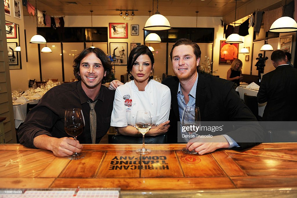 Ben Flajnik, Chef Carla Pellegrino and Mike Benziger attend a wine pairing dinner benefiting Henderson Boys and Girls Club at Bratalian Restaurant on November 5, 2012 in Henderson, Nevada.