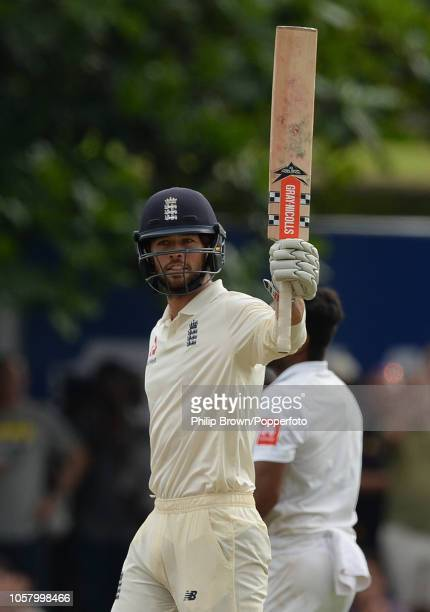 Ben Foakes of England acknowledges reaching his half century during the 1st Cricket Test Match between Sri Lanka and England at the Galle Cricket...