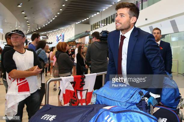 Ben Foakes of England arrives at Perth Airport with the England Test squad on October 29 2017 in Perth Australia ahead of the 2018/18 Ashes Series in...