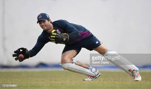 Ben Foakes of England keeps wicket during a nets session at Chilaw Marians Cricket Club Ground on March 06 2020 in Katunayake Sri Lanka