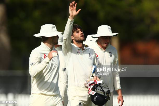Ben Foakes of England signals to the rooms during the Two Day tour match between the Cricket Australia CA XI and England at Richardson Park on...