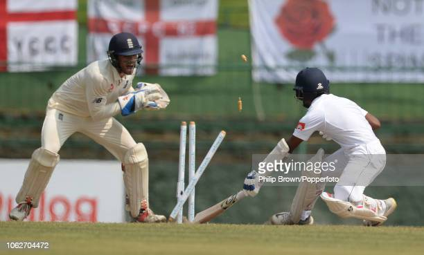 Ben Foakes of England stumps Kaushal Silva of Sri Lanka during the 2nd Cricket Test Match between Sri Lanka and England at Pallekele Cricket Stadium...