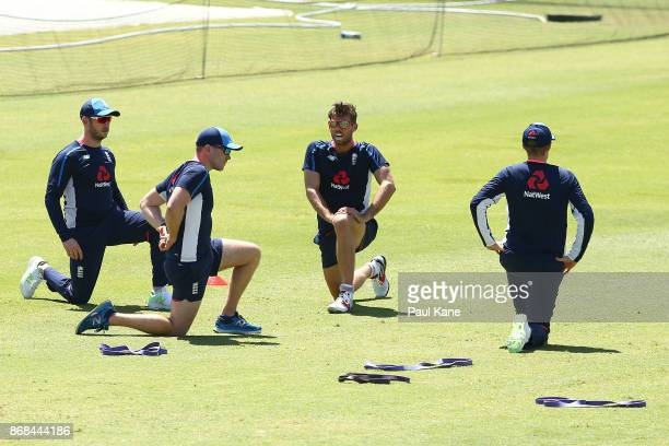 Ben Foakes of England warms up during an England training session at the WACA on October 31 2017 in Perth Australia England are in Perth ahead of...
