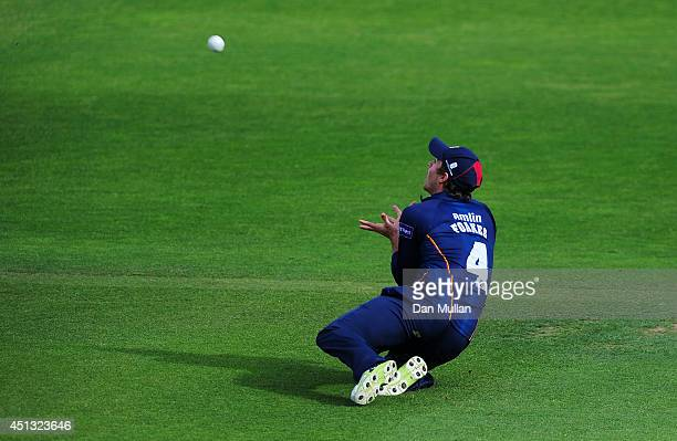 Ben Foakes of Essex dives to catch Marcus Trescothick of Somerset during the Natwest t20 Blast match between Somerset and Essex Eagles at The County...