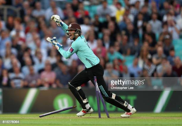 Ben Foakes of Surrey appeals for the run out during the NatWest T20 Blast match between Surrey and Kent at The Kia Oval on July 14 2017 in London...